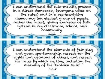 1st Grade I CAN Statement History/SocialScience Blue