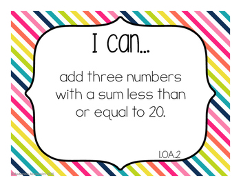 "1st Grade ""I Can"" Statements: Math Standards - Rainbow Colors"