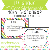 """1st Grade """"I Can"""" Statements: Math Standards - Rainbow Colors"""