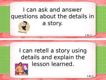 1st Grade I Can Statements for Common Core Literature and Informational Text
