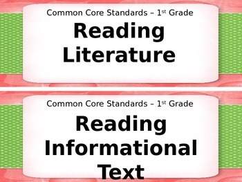 1st Grade I Can Statements for Common Core Literature and