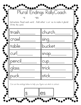 1st Grade Inflected Endings RallyCoach, Adding ed, ing, s and es