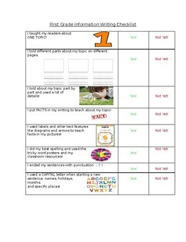 1st Grade Information Writing Checklist Writers Workshop