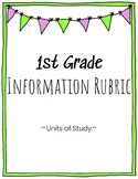 1st Grade Information Writing Rubric
