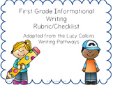 1st Grade Information Writing Rubric/Checklist (Adapted from Lucy Calkin)
