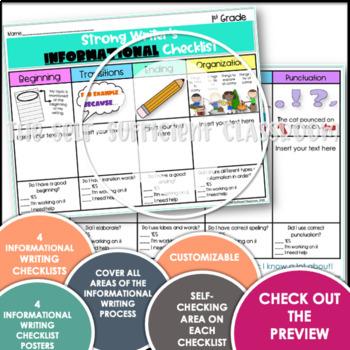 1st Grade Informative Writing Checklist EDITABLE