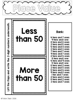 1st Grade Math Interactive Notebook- Numbers and Operations in Base Ten NBT