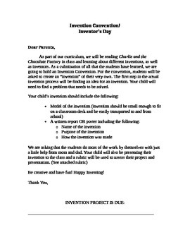 1st Grade Invention Rubric and Letter to Parents