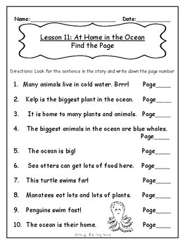 1st Grade Journey's Lesson 11 Comprehension Pack: At Home in the Ocean