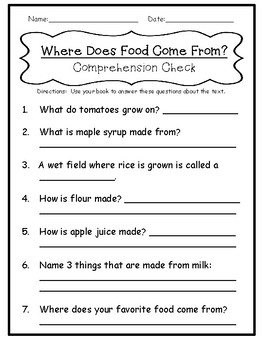 1st Grade Journey's Lesson 18 Comprehension Pack: Where Does Food Come From?