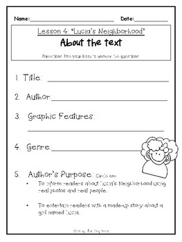 1st Grade Journey's Lesson 4 Comprehension Pack: Lucia's Neighborhood