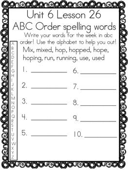1st Grade Journey's Unit 6 Word Work