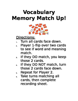 1st Grade Journey's Vocab Matching Game Lesson 6