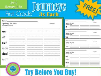 1st Grade Journeys- 3x Each - Unit 1- FREE!