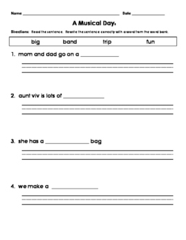 1st Grade Journeys A Musical Day Fill in the Blank Sentence Correction