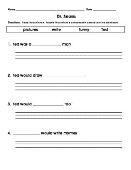 1st Grade Journeys Dr. Seuss Fill in the Blank Sentence Correction