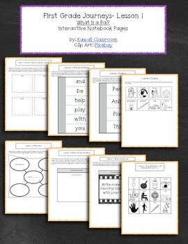 1st Grade Journeys Lesson 1 Interactive Notebook Pages