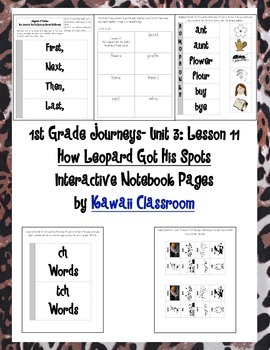 1st Grade Journeys Lesson 12 Interactive Notebook Pages