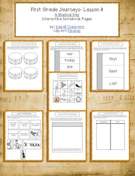 1st Grade Journeys Lesson 8 Interactive Notebook Pages