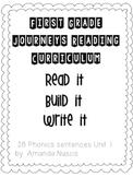 1st Grade Journeys Phonics Read it Build it Write it Unit 1 Lessons 1-5