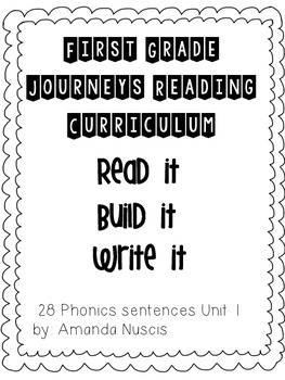 1st Grade Journeys Phonics Read it Build it Write it Unit 1 Lessons 1-5