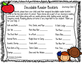 1st Grade Journeys Reading Log for Decodable Readers