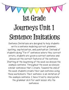 1st Grade Journeys Sentence Imitations- Unit 1