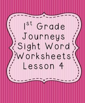 1st Grade Journeys Sight Word Worksheets Lesson 4