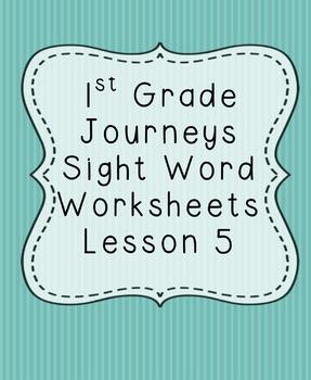 1st Grade Journeys Sight Word Worksheets Lesson 5