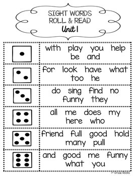 1st Grade Journeys Sight Words Roll and Read