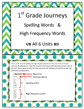 1st Grade Journeys Spelling and High Frequency Words