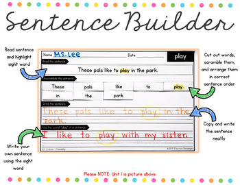 1st Grade Journeys Unit 2 Sight Words Sentence Builder