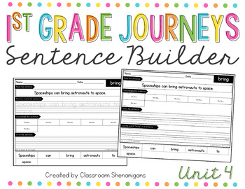 1st Grade Journeys Unit 3 Sight Words Sentence Builder