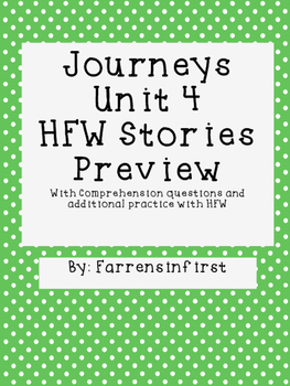 1st Grade Journeys Unit 4, HFW Stories Freebie