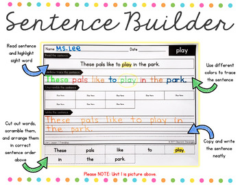 1st Grade Journeys Unit 4 Sight Words Sentence Builder