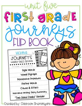 1st Grade Journeys Unit 5 Weekly Skills Flipbooks {FREE}