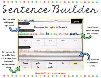 1st Grade Journeys Unit 6 Sight Words Sentence Builder