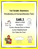 1st Grade Journeys Vocabulary & Comprehension Tests: Unit 1 Bundle