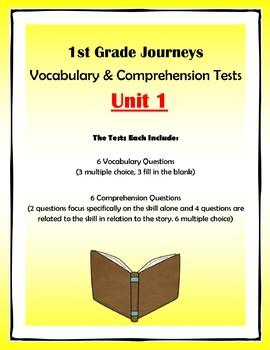 1st Grade Journeys Vocabulary & Comprehension Tests: Unit 1 Bundle