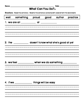 1st Grade Journeys What Can You Do? Fill in the Blank Sent