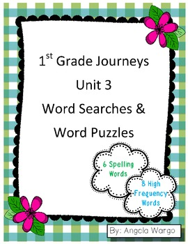 1st Grade Journeys Word Searches & Puzzles – Unit 3