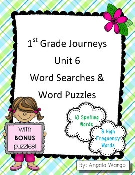 1st Grade Journeys Word Searches & Puzzles – Unit 6