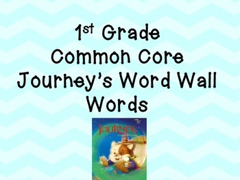 1st Grade Journey's Word Wall Sight Words Lesson 1 - 30