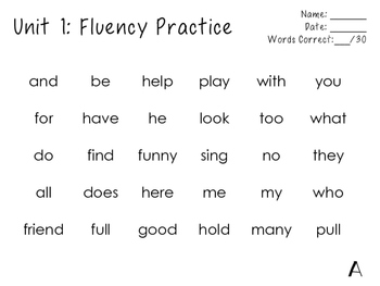 1st Grade Journeys Word Wall Word Fluency Unit 1