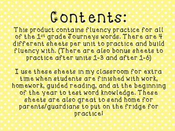 1st Grade Journeys Word Wall Word Fluency Units 1-6