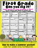 1st Grade Summer Review June Can You Dig It Common Core Aligned Reading