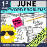 1st Grade June Word Problems printable and digital math ac