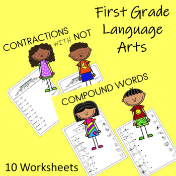 first grade language arts worksheets 10 pages tpt. Black Bedroom Furniture Sets. Home Design Ideas
