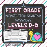 1st Grade: *LEVELED* Nonfiction Reading Passages & Questions (Levels D-G)