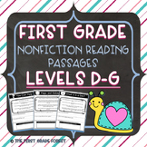 1st Grade: *LEVELED* Nonfiction Reading Passages & Questions (Levels D-G)